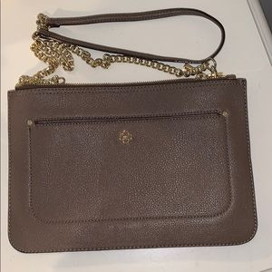 Grey crossbody bag with gold chain strap